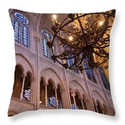 Interior Notre Dame Cathedral Throw Pillow
