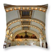 Interior Of Union Pacific Railroad Depot - Salt Lake City Throw Pillow