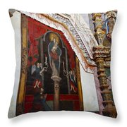 Interior Wall San Xavier Del Bac Mission Throw Pillow