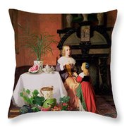 Interior With Figures And Fruit Throw Pillow