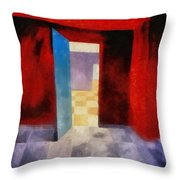 Interior With Red Walls Throw Pillow