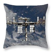 International Space Station Backgropped Throw Pillow
