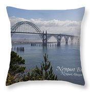 Into The Fog At Newport With Text Throw Pillow