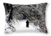 Into The Snowy Forest Throw Pillow