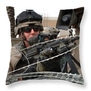 Iraqi And U.s. Soldiers Patrol The Al Throw Pillow