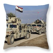Iraqi Army Soldiers Aboard M1114 Humvee Throw Pillow