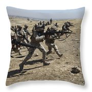 Iraqi Army Soldiers Move To Positions Throw Pillow