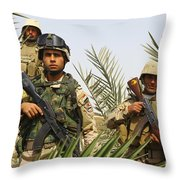 Iraqi Soldiers Conduct A Foot Patrol Throw Pillow