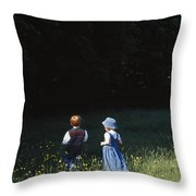 Ireland Children In A Field Throw Pillow by The Irish Image Collection