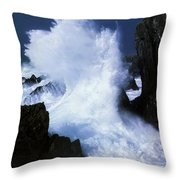 Ireland, Waves Crashing On Rocks Throw Pillow