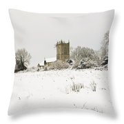 Ireland Winter Landscape With Church Throw Pillow