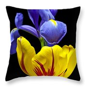 Iris And Tulip Throw Pillow
