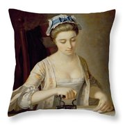 Ironing Throw Pillow by Henry Robert Morland
