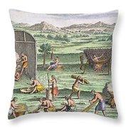 Iroquois Village, 1664 Throw Pillow