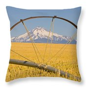 Irrigation Pipe In Wheat Field With Throw Pillow