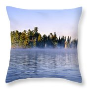 Island In Lake With Morning Fog Throw Pillow