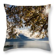 Islands On A Lake In Autumn Throw Pillow