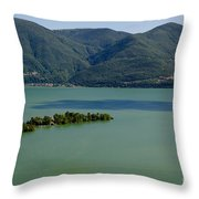 Islands On An Alpine Lake With A Shadow Throw Pillow