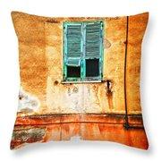 Italian Green Shutters Throw Pillow by Silvia Ganora