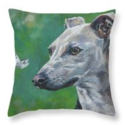 Italian Greyhound With Cabbage White Butterflies Throw Pillow