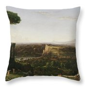 Italian Scene Composition Throw Pillow by Thomas Cole