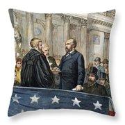 J. A. Garfield: Inauguration Throw Pillow by Granger