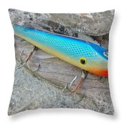 J And J Flop Tail Vintage Saltwater Fishing Lure - Blue Throw Pillow