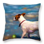 Jack At The Beach Throw Pillow by Michelle Wrighton