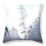 Jack Frost's Ice Forest Throw Pillow