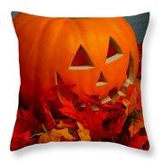 Jack-o-lantern Halloween Display Throw Pillow