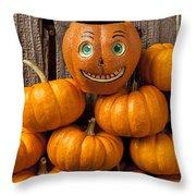 Jack-o-lantern On Stack Of Pumpkins Throw Pillow