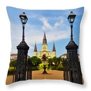 Jackson Square In New Orleans Throw Pillow