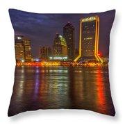 Jacksonville At Night Throw Pillow by Debra and Dave Vanderlaan