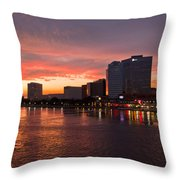 Jacksonville Skyline Night Throw Pillow