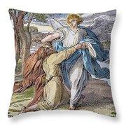 Jacobs Struggle, 19th Cent Throw Pillow