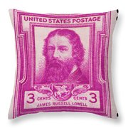 James Russell Lowell Postage Stamp Throw Pillow