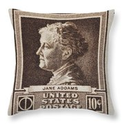 Jane Addams Postage Stamp Throw Pillow