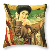 Japan Steamship Poster  1914 Throw Pillow