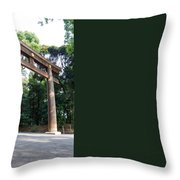 Japanese Entrance Gate On A Sunny Day Throw Pillow