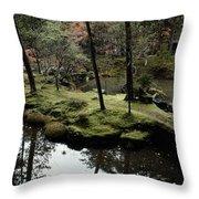 Japanese Garden At Saihoji Temple Throw Pillow