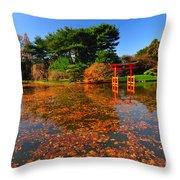 Japanese Garden Brooklyn Botanic Garden Throw Pillow
