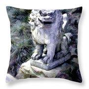 Japanese Garden Lion Dog Statue 1 Throw Pillow