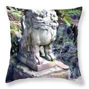 Japanese Garden Lion Dog Statue 2 Throw Pillow