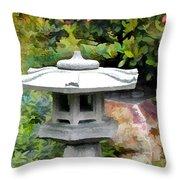 Japanese Garden Stone Snow Lantern Throw Pillow