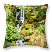 Japanese Garden Waterfall Throw Pillow