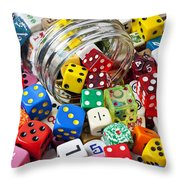 Jar Spilling Dice Throw Pillow by Garry Gay