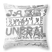 Jazz Funeral Sketch Throw Pillow