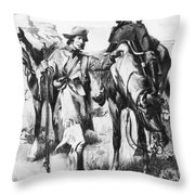 J.c. Fremont And His Guide, Kit Carson Throw Pillow