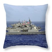 Jds Atago Sails In Formation With U.s Throw Pillow
