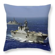 Jds Hyuga Sails In Formation With U.s Throw Pillow